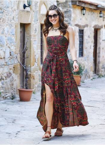 Ethnic Patterned Strappy Wrap Maxi Dress