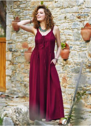Criss Cross Neck Shirred Maroon Dress