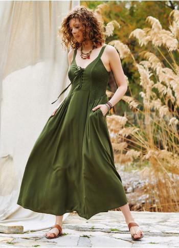 Criss Cross Neck Shirred Khaki Dress