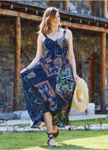 Etnic Patterned Criss Cross Neck Shirred Dress
