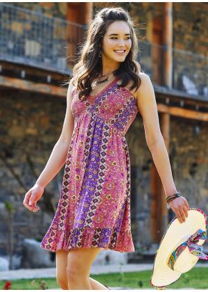 Carnation Pattern V Neck Lace Up Back Low-cut Summer Dress