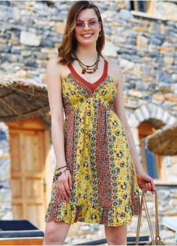 Yellow Pattern V Neck Lace Up Back Low-cut Summer Dress
