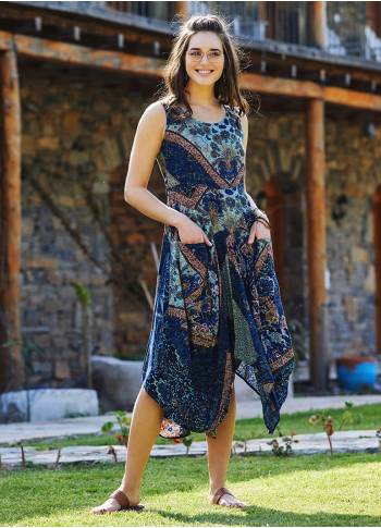 Blue Patterned Sleeveless Paisley Tie Waist Dress