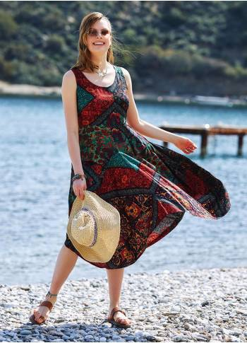 Black Patterned Sleeveless Paisley Tie Waist Dress