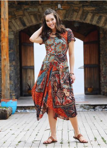 Brown Printed Asymetrical Hem Half Sleeve Long Dress