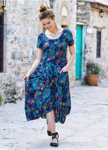 Floral Printed Asymetrical Hem Half Sleeve Long Dress