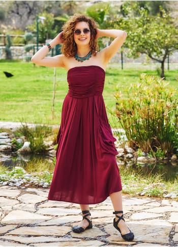 Strapless Drape Detailed Maroon Midi Evening Dress