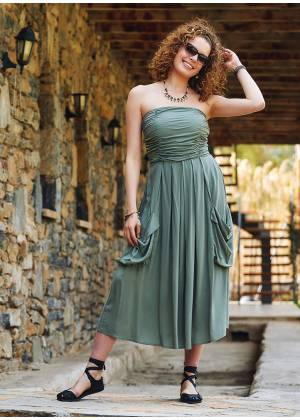 Green Strapless Drape Detailed Midi Evening Dress