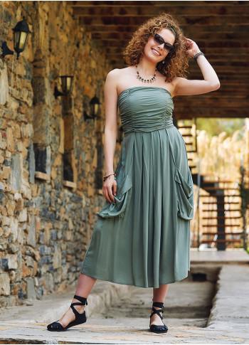 Green Strapless Drape Detailed Midi Evening Dress