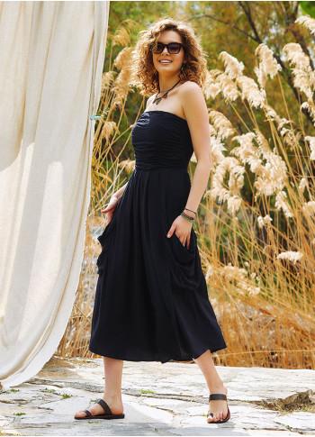 Strapless Drape Detailed Black Midi Evening Dress