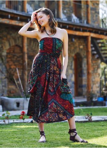 Etnic Patterned Drape Detailed Midi Evening Dress