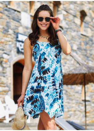 Ethnic Patterned Sweetheart Neck Fit And Flare Day Dress