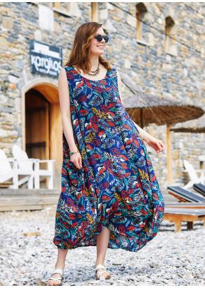Navy Blue Patterned Scoop Neck Loose Fit Side Pockets Maxi Dress