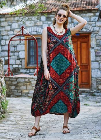 Black Patterned Scoop Neck Loose Fit Side Pockets Maxi Dress