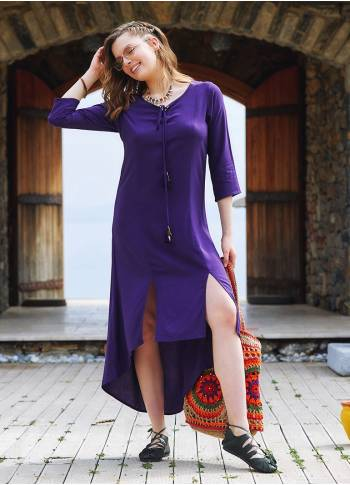 Purple Beaded Slits Boat Neck Tassel Tunic Dress