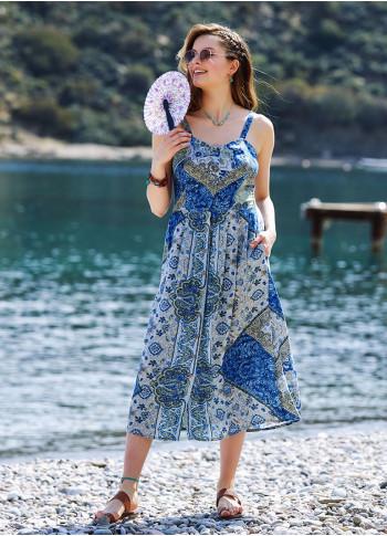 Blue Print Retro Style Button Down Midi Sundress