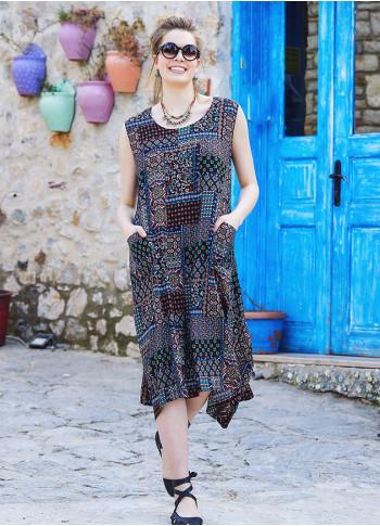 Brown Patterned Bohemian Style Boat Neck Sleeveless Dress