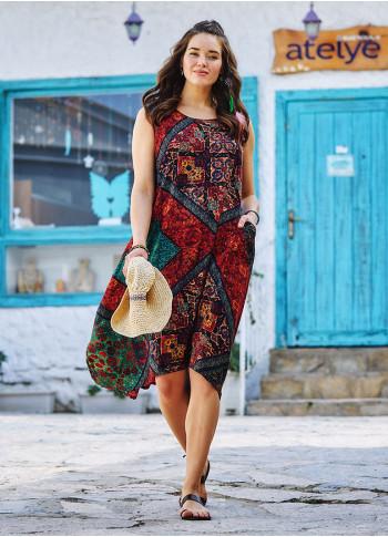 Authentic Patterned Bohemian Style Boat Neck Sleeveless Dress