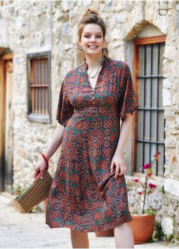 Authentic Patterned Mandarin Collar Half Sleeve Midi Dress