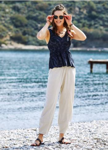 Cream Authentic Waist Elastic Baggy Trousers