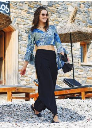 Bohemian Split Front Wide Leg Black Pants