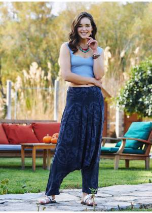 Gray Bohemian Pleated Harem Pants