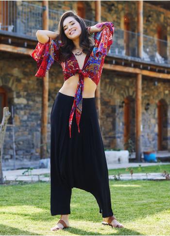 Black Bohemian Pleated Harem Pants