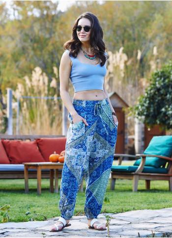 Blue Print Elastic Waist Bohemian Style Baggy Pants