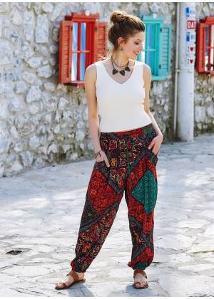 Authentic Patterned Bohemian Style Flowy Baggy Trousers