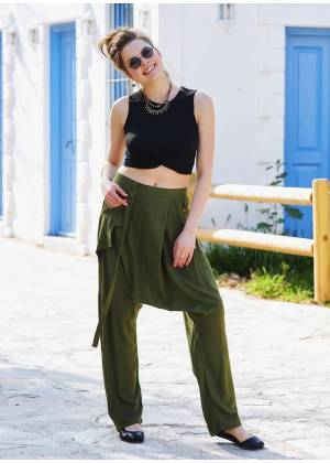 Khaki Loose Fit Drop Crotch Pants
