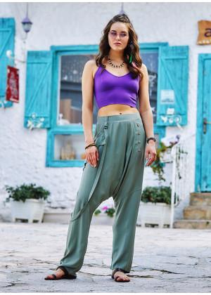Light Green Loose Fit Drop Crotch Pants