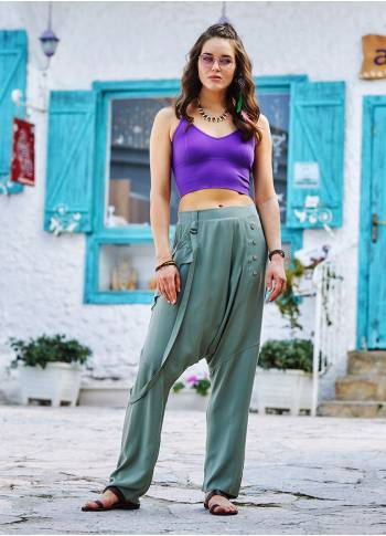 Light Green Loose Fit Drop Crotch Pants