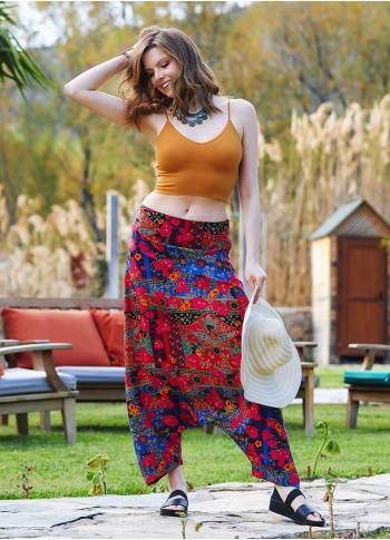 Roma Patterned Hidden Zipper Modern Harem Pants