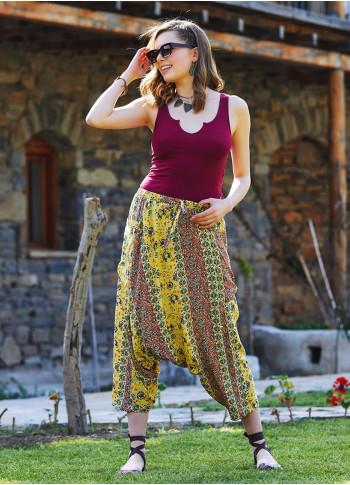 Yellow Floral Elastic Waist Capri Harem Pants