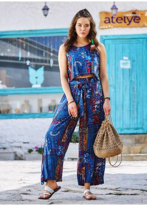 Blue Pattern Buttoned Back Decollete Jumpsuit