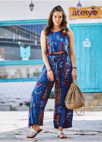 Blue Pattern Buttoned Back Decollete Jumpsuit