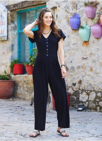 Half Sleeve Black Bohemian Jumpsuit