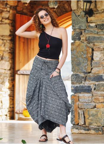 White Printed Elastic Waist Asymmetrical Hem Skirt