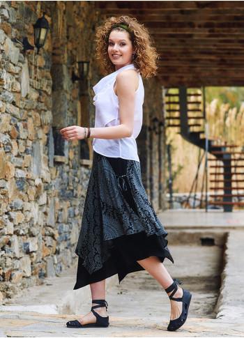 Gray Patterned Double Layered  Midi Skirt