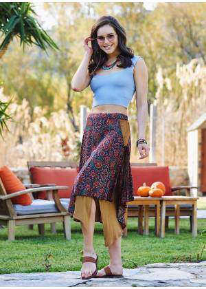 Retro Patterned Double Layered Midi Skirt