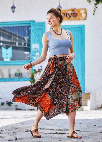 Brown Printed Asymmetrical Hem Flowy Midi Skirt