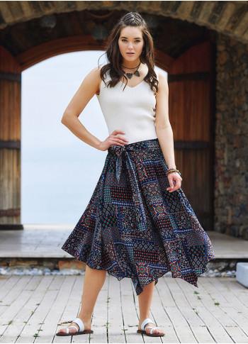 Black Printed Asymmetrical Hem Flowy Midi Skirt