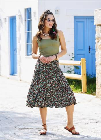 Floral Flared Waist Elastic Red Midi Skirt