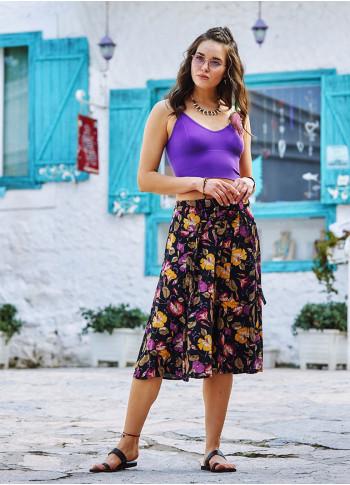 Authentic Patterned Elastic Black Waistband Skirt