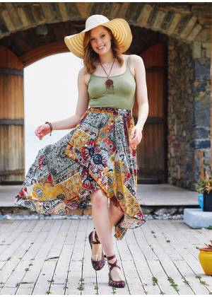 Mustard Patterned Bohemian Authentic Skirt