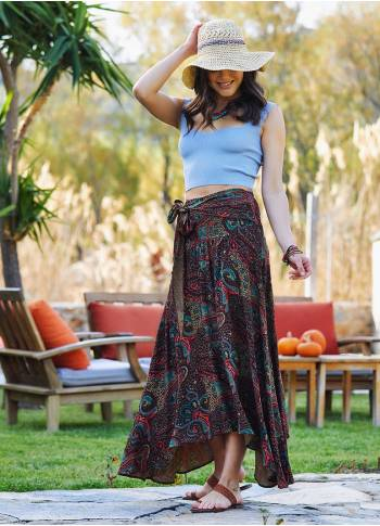 Shabby Brown Patterned Asymmetric Skirt