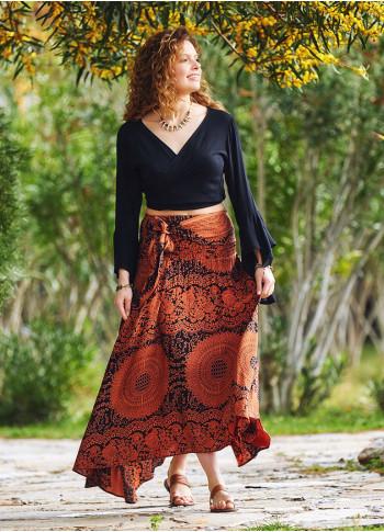Gypsy Style Orange Flowy Skirt