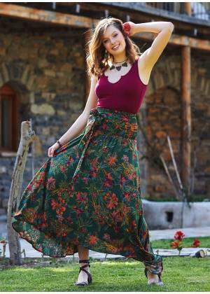 Gypsy Style Green Patterned Flowy Skirt
