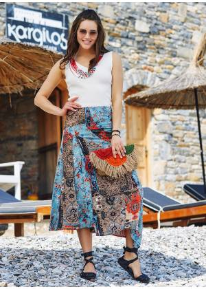 Patchwork Orange Midi Skirt
