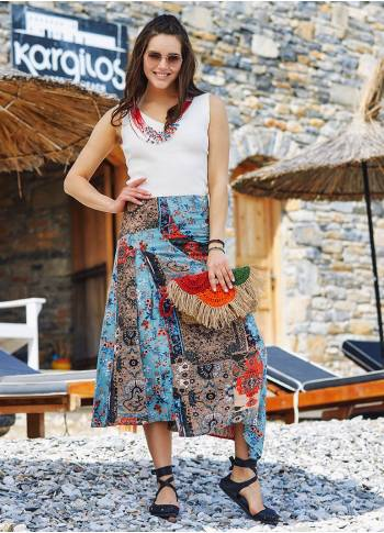 Patchwork Orange Midi Skirt